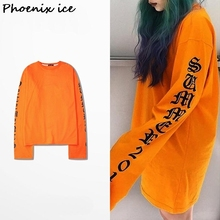 Ulzzang harajuku gothic letters long in OVERSIZE INS with super long sleeve t-shirts for men and women