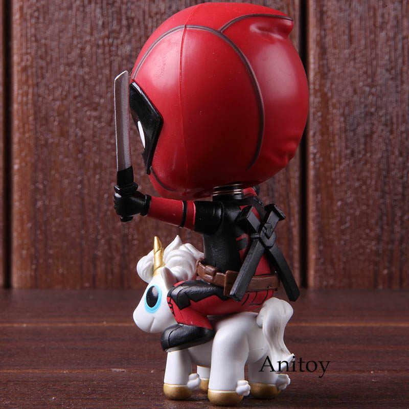 Maravilha Deadpool Equitação Cabeça Bobble Versão Action Figure Collectible Modelo Toy Presente Para Crianças