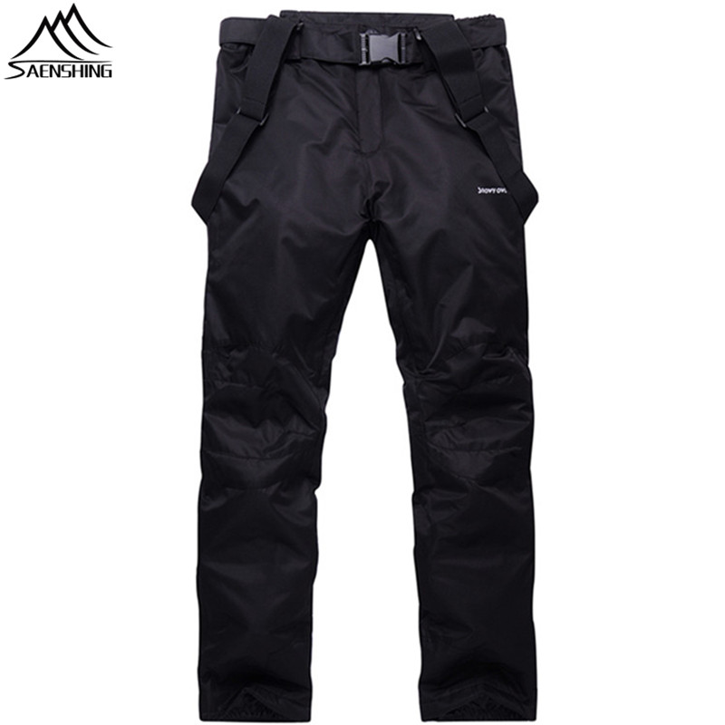 Saenshing Unisex Waterproof snowboard pant women men ski trousers Cotton Warm snow pant outdoor mountain skiing suspenders jeans men s blue slim fit fashion denim pencil pant high quality hole brand youth pop male cotton casual trousers pant gent life