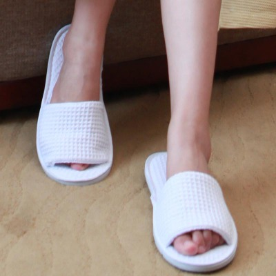 Top Quality White Terry Open Toe Spa Slippers Home Shoes For Adults Women Men 29*11.5CM Wholesale