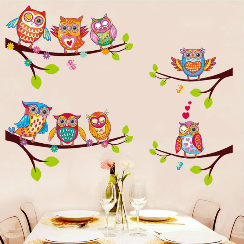 Colorful Owls Cartoon Wall Stickers Owls on The Tree ...