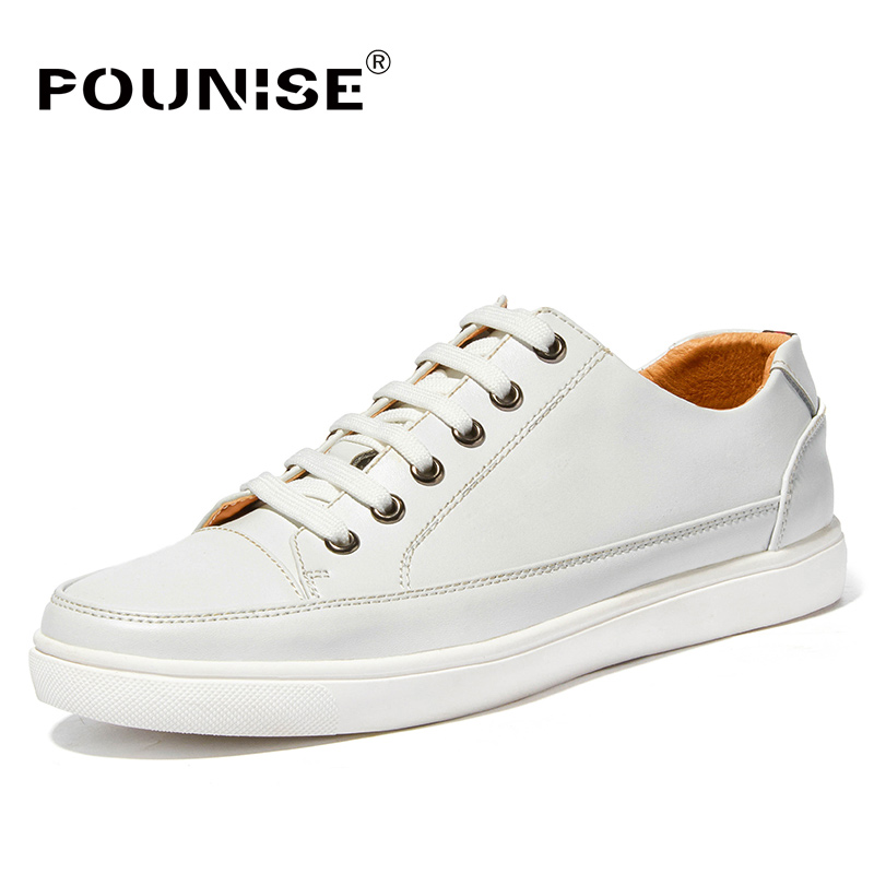 Pounise Brand Autumn Winter Men Shoes Genuine Leather Sneakers fashion Casual Shoes Male Walking Shoes Quality Footwear Man male casual shoes soft footwear classic men working shoes flats good quality outdoor walking shoes aa20135