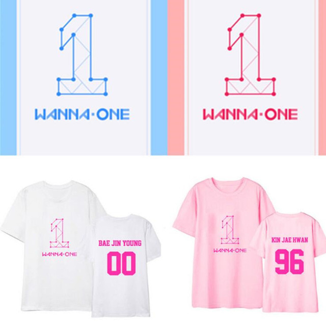 New kpop WANNA ONE Album remier Show-Con The Same Colorful Couple summer Short Sleeve Tshirt
