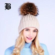 [FLB] оптовая Реального Норки Pom Poms Вязаная Шапка Шапочки Зима шляпа Для Девушки Женщин Шерсть Шляпа Хлопок Skullies Женские Крышки