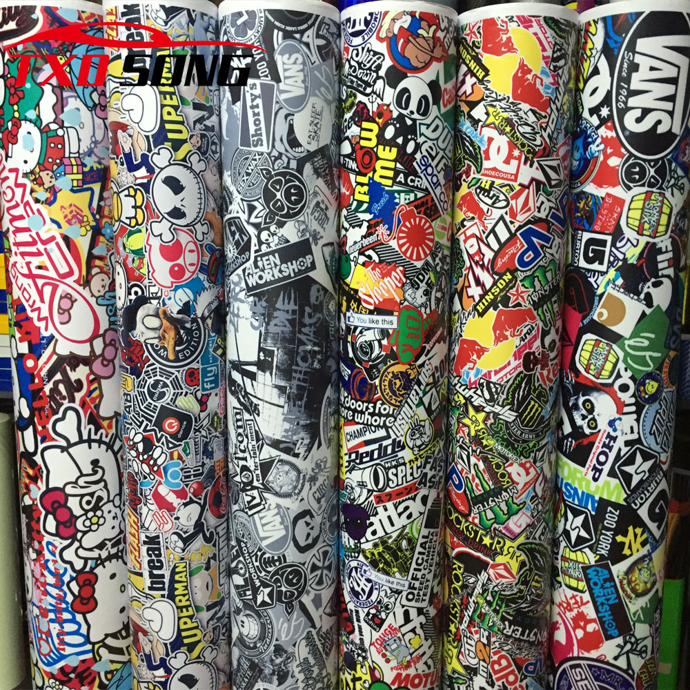 10/20/30/40/50/60X152CM/LOT CARTOON GRAFFITI CAR STICKER BOMB WRAP SHEET DECAL VINYL DIY CAR BOMB VINYL FILM BY FREE SHIPPING car styling 30cm 100cm graffiti cartoon vinyl wrap car motorcycle decal diy phone laptop automobiles bike sticker film sheet