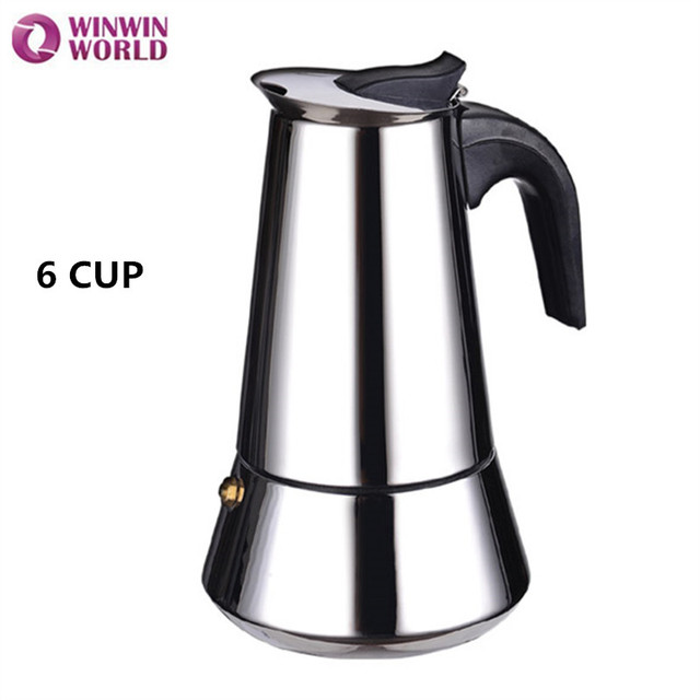 6 Cup 400ml Stovetop Espresso Coffee Maker Italian Latte Moka Pot Made In China Stainless Steel