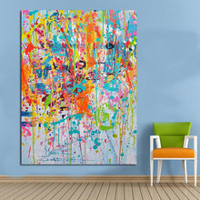 100% hand painted abstract Oil Painting Colorful Wall Pictures for Living Room no Framed Home Decor Canvas Art Posters and Paint(China)