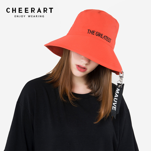 Cheerart Bucket Hat Women Letter Fishing Hat Summer Ribbon Sun Hat Orange Black  Bucket Cap 8d282a72fc1