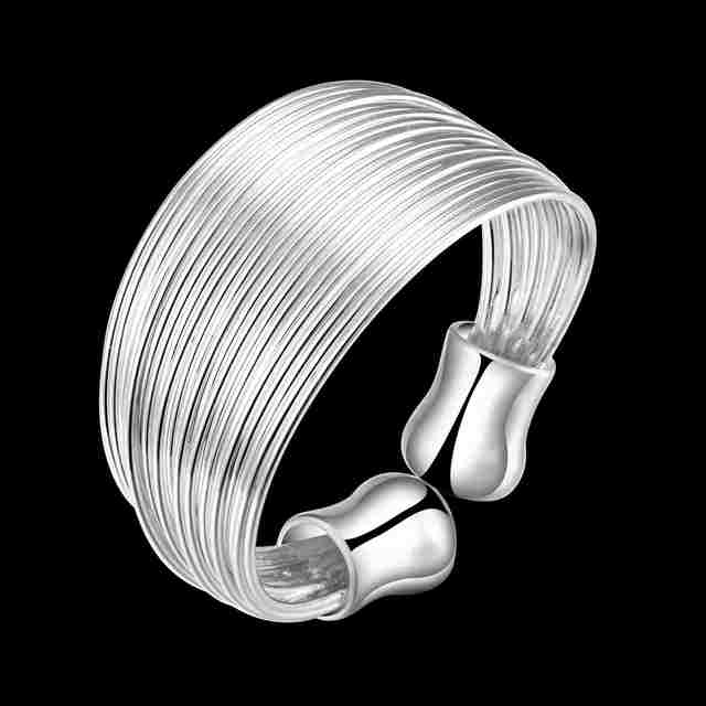 Free Shipping wholesale fashion jewelry jewellery silver color ring Multi-line anel Personalized SMTR018
