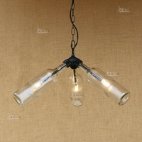 Creative Glass Wine Bottle LED Pendant Lights Loft Industrial Style Bar Coffee Shop Retro Water Pipes