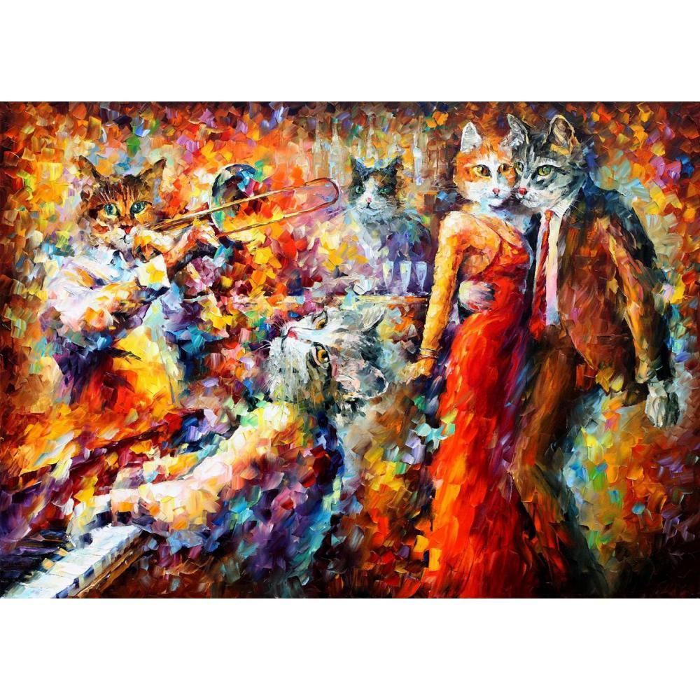 Современное искусство Cat Club ручная роспись нож абстрактные картины животного холст, масло высокого качества