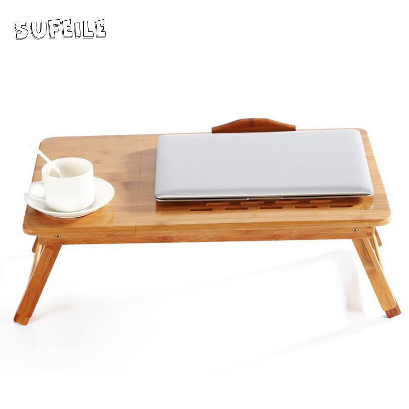 SUFEILE Outdoor office Natural Bamboo Laptop Table Desk Adjustable Height Folding Table Computer Desk Portable Notebook Stand D5