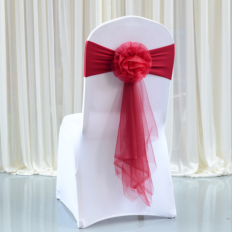 10 20 30pc set Red Wine Wedding Chair Bow Decoration Stretch Chair Sashes Knot Ties For Wedding Party Hotel Banquet Chairs Decor