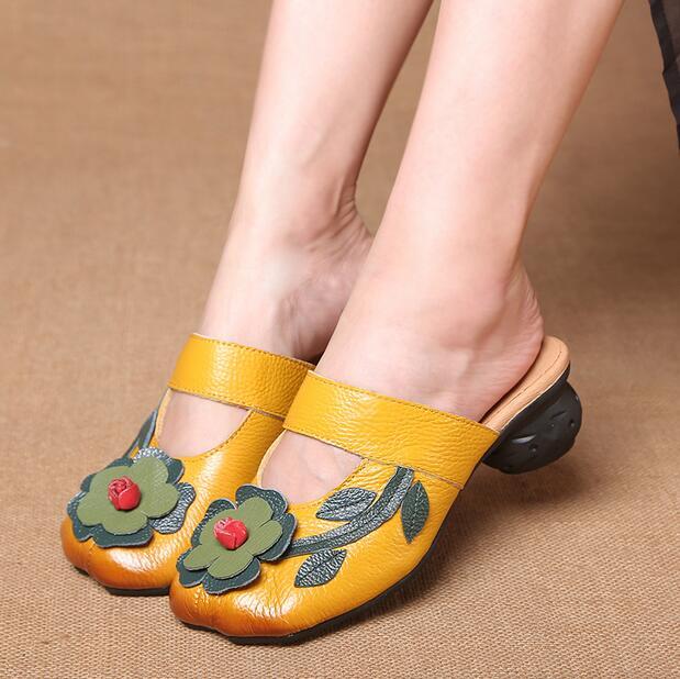 Sandales De Véritable Mode Mocassins Rouge rouge Confortable Cuir Noir Rushiman Ciel En Femmes 40 Pantoufles Taille Ue Qualité Chaussures jaune Haute pu D'été 35 txOXwAqI