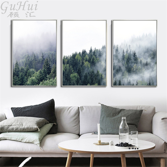 Beau Natural Mysterious Scenery Forest Morning Fog Trees Canvas Painting  Decorative Scandinavian Living Room Minimalist Wall Poster