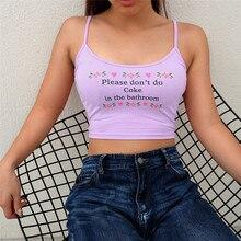 Top corto sexi para mujer, por favor, no hagas cola en el baño, camiseta recortada con estampado de letras, camisetas sin mangas Halter de verano