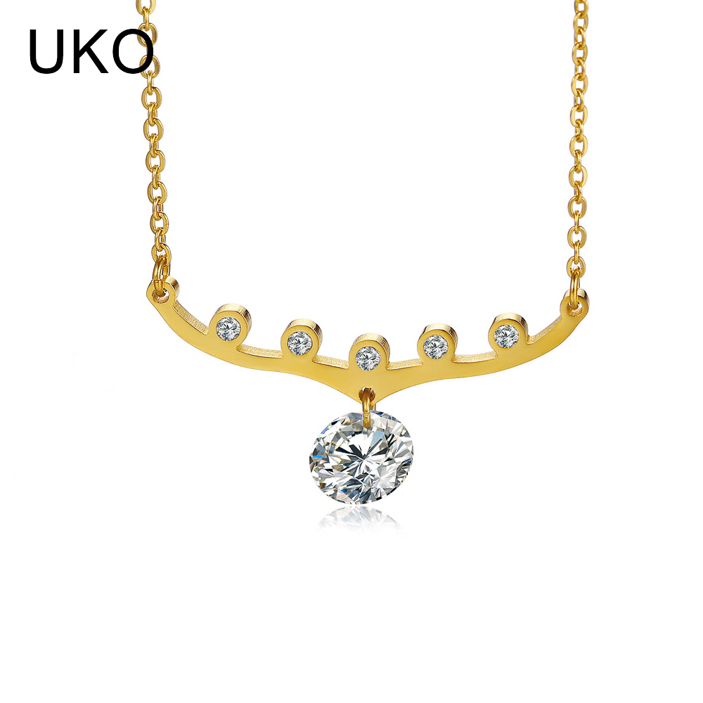 UKO Rhinestone Necklace Choker Stainless Steel Necklace Female Lady Girl Party Gift