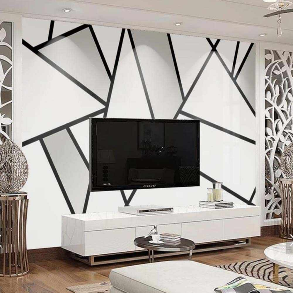 3D Abstract Geometry Simple Black White Triangle Line Wallpaper Mural For Living Room Bedroom Home Wall Decorative Custom