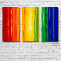 Pure Handmade Oil Painting On Canvas Wall Decor 3Pcs/Lot Abstract Red Blue Yellow Painting Decorative Wall Pictures Home Decor