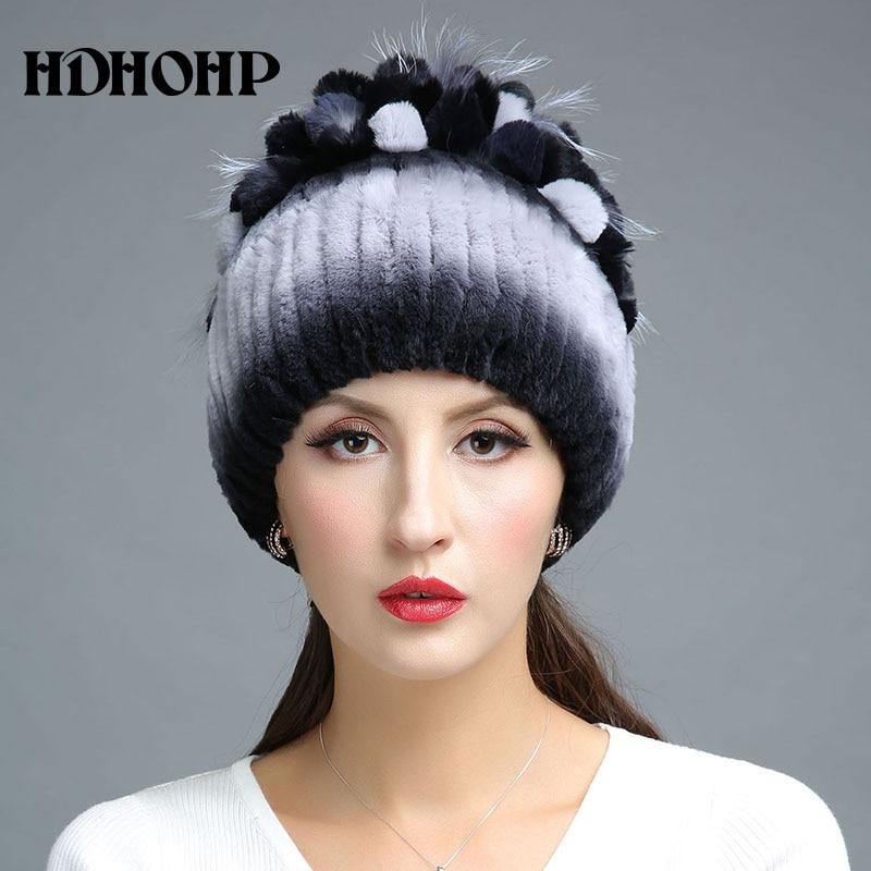 HDHOHR 2017 Nuevo invierno cálido sombrero de piel real para mujer - Accesorios para la ropa - foto 2