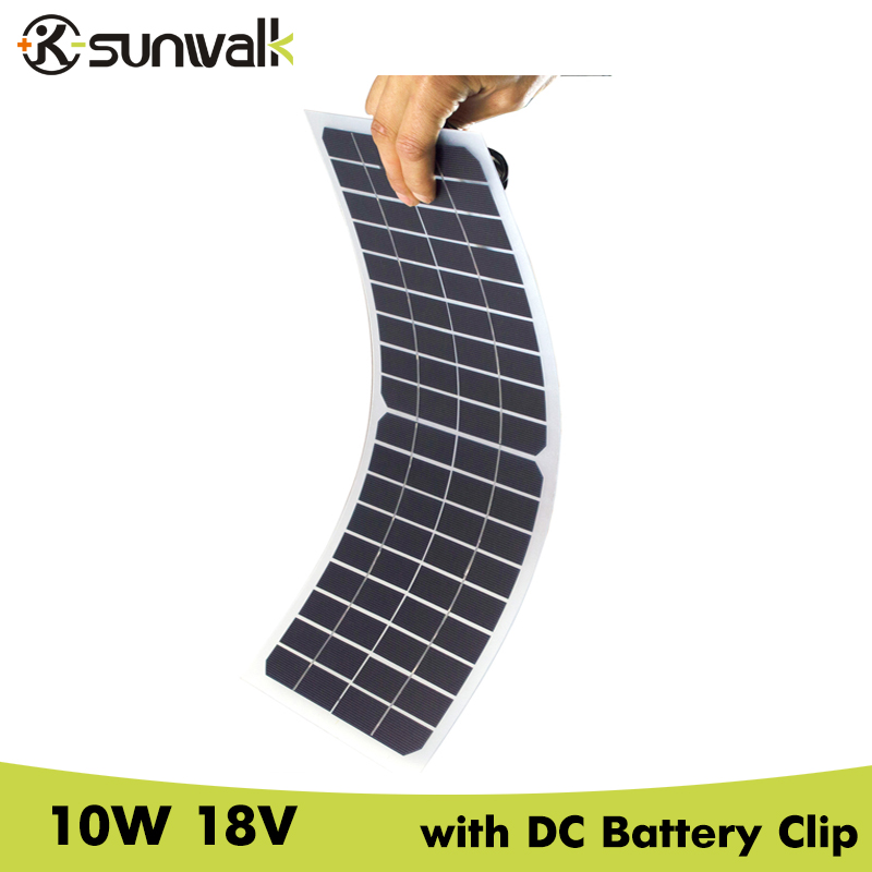 SUNWALK Semi flexible 10W 18V Transparent Solar Cell Panel with DC Crocodile Clip Solar Car Charger 12V Battery 440*190mm soalrpart 180w semi flexible solar panel battery with back side connection box with mc4 for 12v solar car battery charger