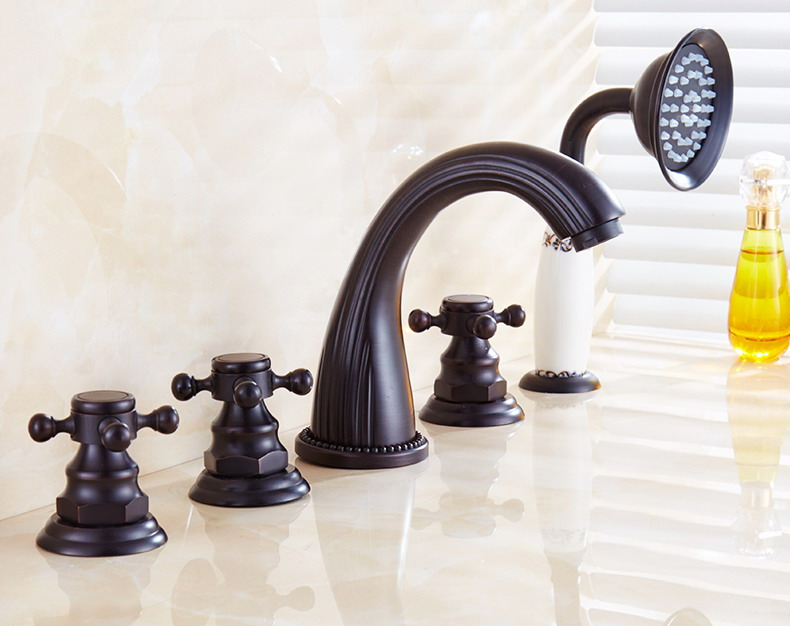 New 8 Roman Widespread Lavatory Bathroom Sink Faucet Oil: Deck Mounted 5 Holes Bathtub Mixer Faucet Black Oil Rubbed
