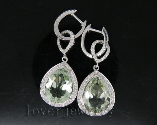 Solid 14K White Gold Natural Diamond Amethyst Earrings For Sale Pear Earrings Women 10x15mm E0002 jewlery sets vintage solid 14k white gold green amethyst diamond earrings for women fine amethyst jewelry