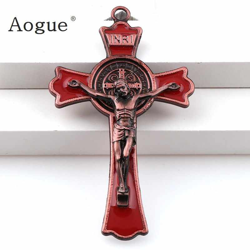 Colorful Enamel  Jesus Crucifix Double Draw Crosses Charms INRI Saint Benedict Crucifix Pendants For  Pendants Necklace