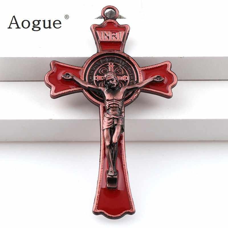 เคลือบสีสันพระเยซูตรึงกางเขนวาดคู่ Crosses Charms INRI Saint Benedict Crucifix จี้สำหรับจี้สร้อยคอ