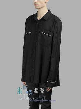 S-6XL!!Homemade men and women of the same style pajama wind loose shirt personality style fashion spell white decorative shirt.