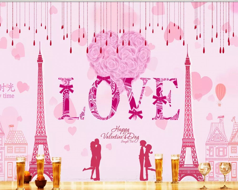Us 190 50 Offfree Shipping Custom Wallpaper Mural Hd High Definition Pink Romantic Love Background Wall Painting Wallpaper Girls Bedroom In