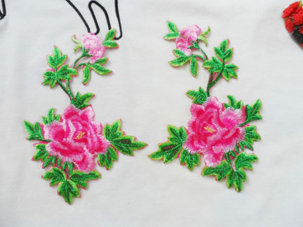 ᗑ】# L012 16 cm x 10 cm 5 pares/1 lote xembroidered peonía Flor del ...