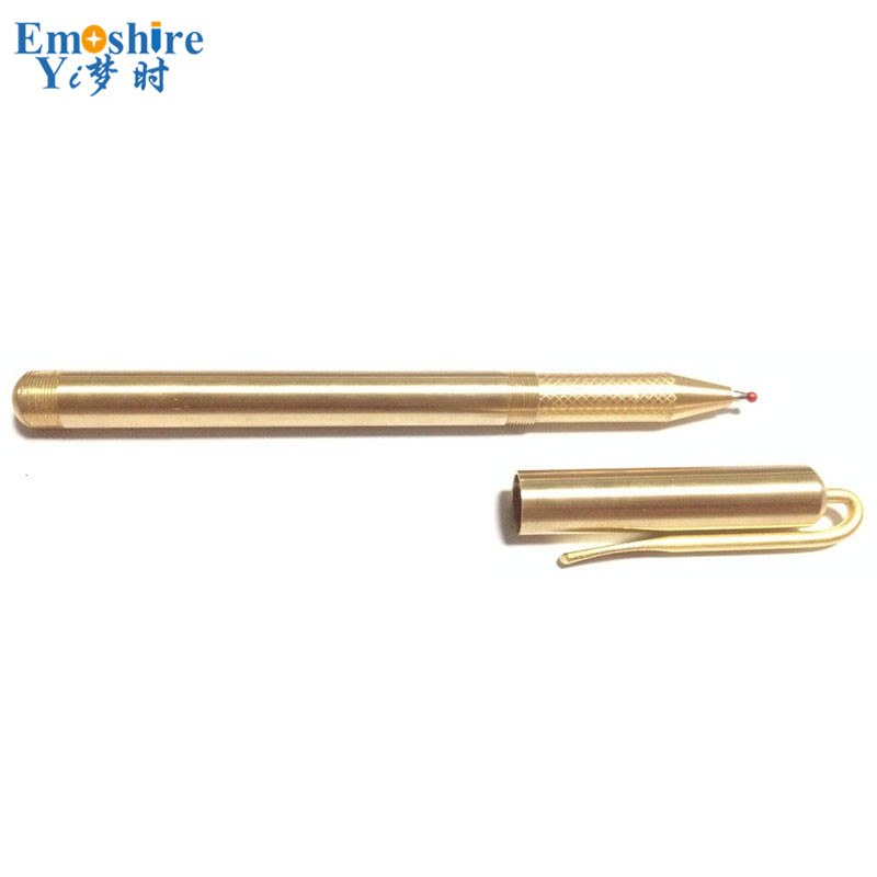 Emoshire Office Writing Fashion Brass Pen with Pen Holder Golden Clip Handmade Metal Ballpoint Pen Luxury Roller Ball Pen P333 emoshire limited edition special gift pen for man business office writing golden roller ball pen luxury ballpoint pens p343