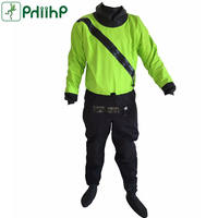 PHIIHP Dry Suit for Men Drysuits for Kayaking with Front Relief Zip and Soft Socks in Cold WaterGreen/ Red S M L XL