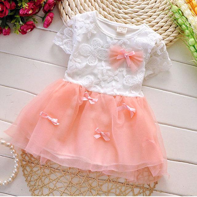 Alta calidad 2016 summer infant baby girls tutu dress ropa para niñas ropa de bebé marca diseño princesa de encaje vestidos de fiesta