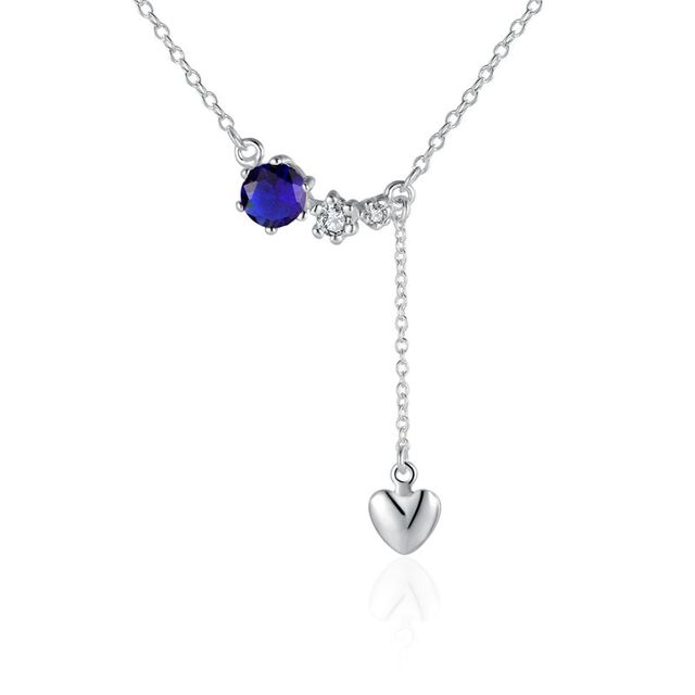 Wholesale sterling silver 925 blue stone drop heart necklacenew wholesale sterling silver 925 blue stone drop heart necklacenew design pendants necklacefree aloadofball Image collections