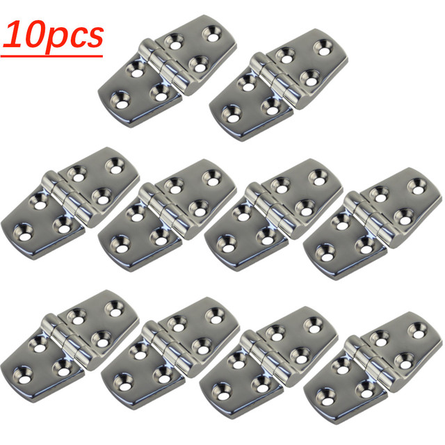 10PCS High Quality Stainless Steel 316 Boat Strap Hinge 6 Holes Deck Door Hatch Locker Strap Hinge FOR Marine Hardware 38*76mm