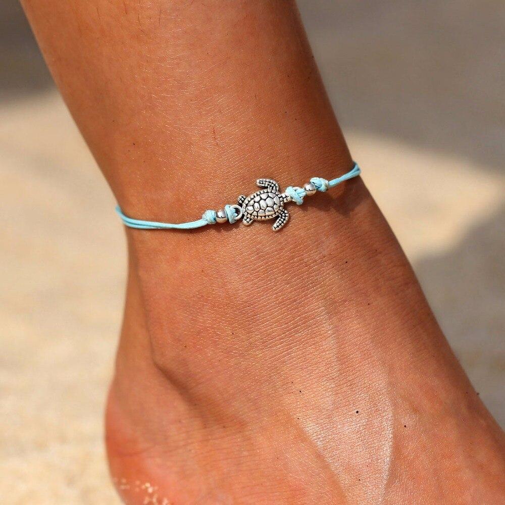 1 Stücke Blau Seil Kette Schildkröte Anhänger Charme Fußkettchen Für Frauen Schildkröte Fußkettchen Strand Frauen Sommer Schmuck