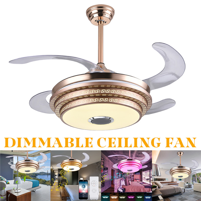 AC110V /220V Color Dimmable LED Bluetooth Musical Ceiling Fan Light With Remote Control And Manual Chandelier FanAC110V /220V Color Dimmable LED Bluetooth Musical Ceiling Fan Light With Remote Control And Manual Chandelier Fan