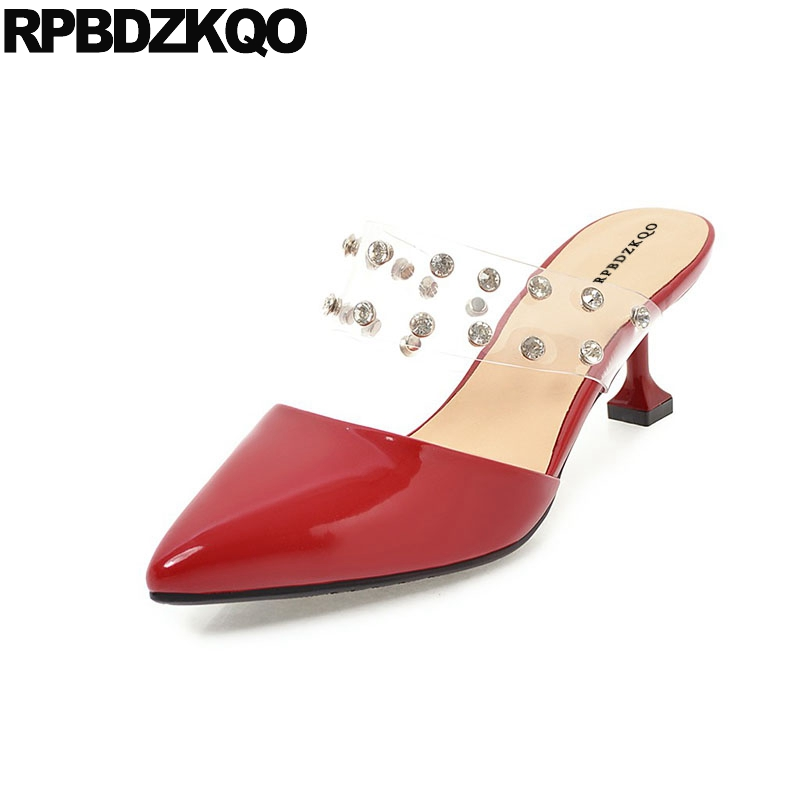 b47b1ccab9a Rhinestone Clear Wedding Shoes Plus Size Pointed Toe Kitten Pumps Red Mules  Slipper Transparent Pvc Crystal Metallic Peach Women
