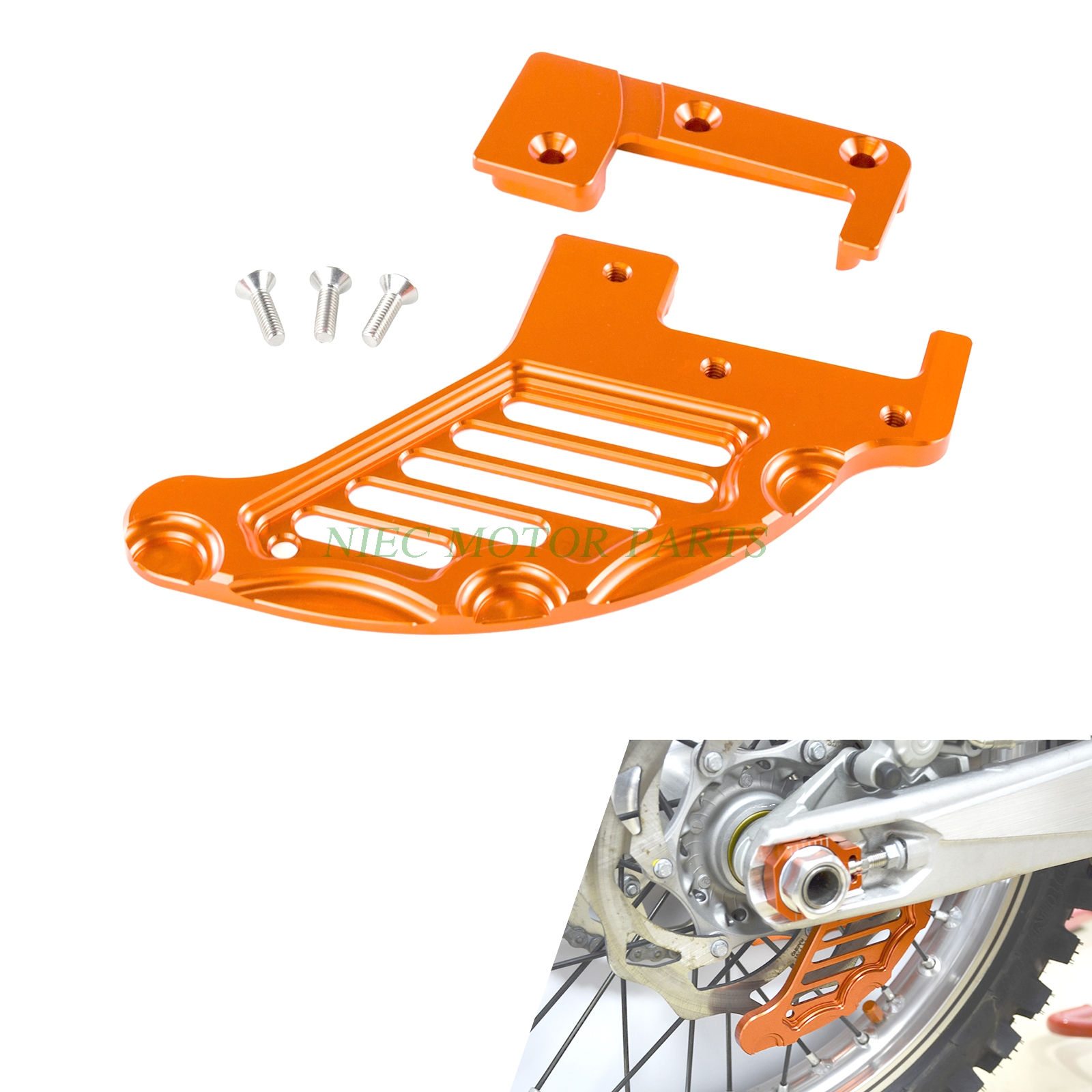 ORANGE CNC REAR BRAKE DISC GUARD For KTM 150 200 250 300 350 400 450 525 530  EXC EXC-F SX SX-F XC XCF XCW MXC 2004-2017 цена 2016