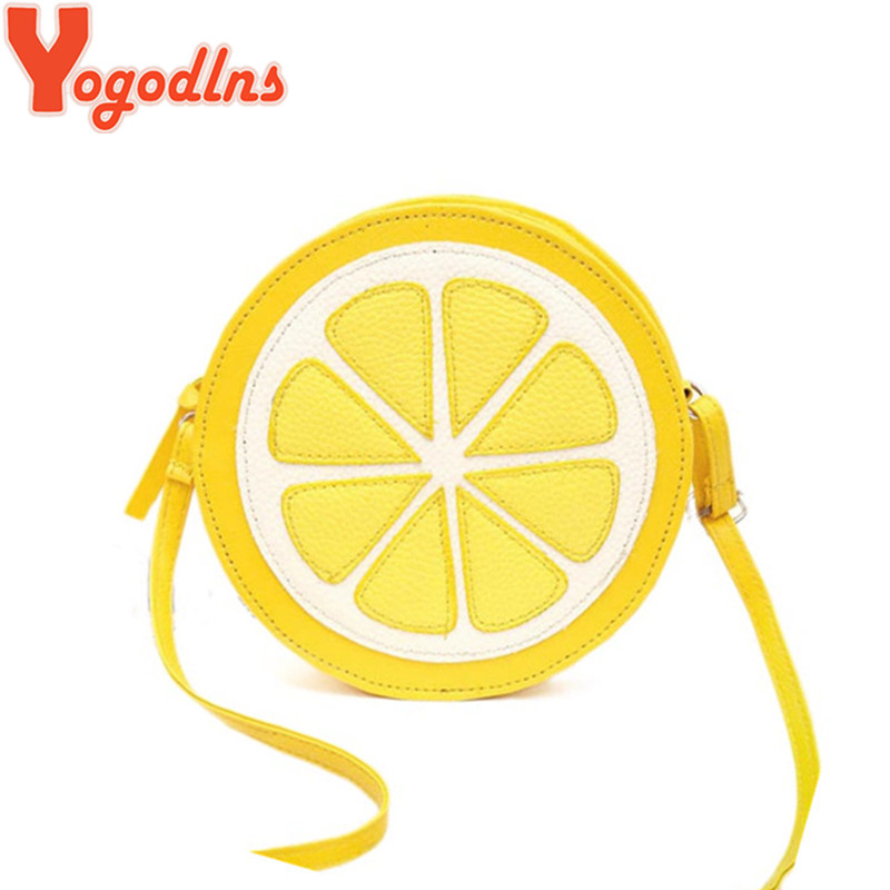 Yogodlns New Arrival Round Lemon Orange Pattern Zipper Crossbody Women Messenger