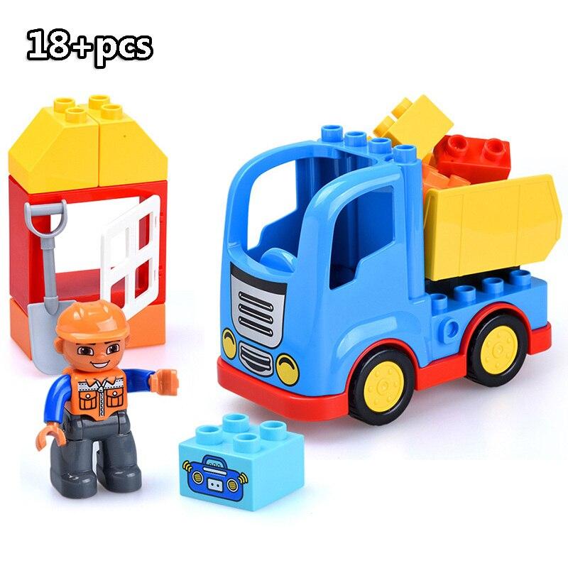 13-109pcs Large particles City Transport Team Car Model Series Building Block Bricks Compatible Duploe Toys for children Kids GIft (18)
