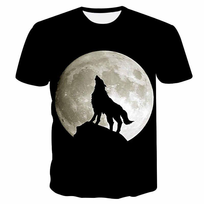 2019 Новая летняя брендовая 3D футболка с головой волка Мужская футболка с круглым воротником и коротким рукавом Мужская модная футболка с коротким рукавом Прямая поставка