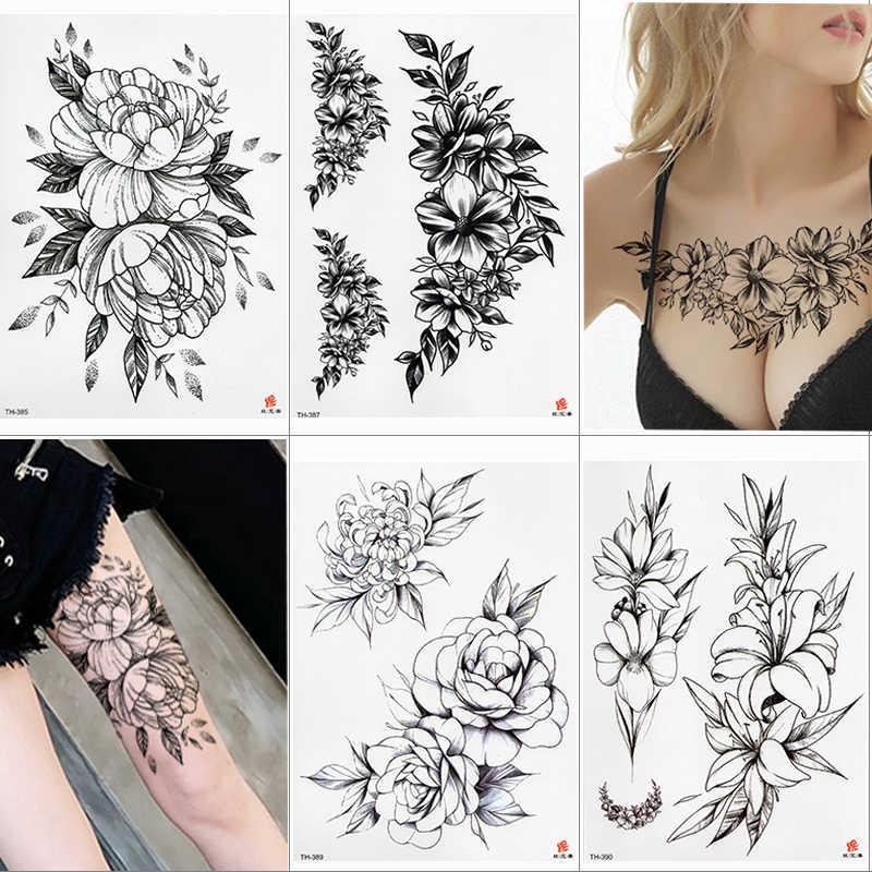 방수 임시 문신 스티커 로터스 로즈 패턴 유방 어깨 아래 물 전송 꽃 바디 아트 가짜 문신