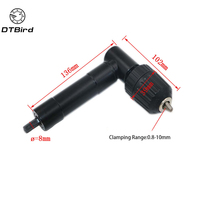 90 Degree Right Angle Cordless Drill Attachment With Keyless Chuck Holder Black Plastic Head 3 Hex Handle|Drill Bits| |  -