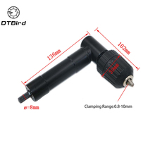 90 Degree Right Angle Cordless Drill Attachment With Keyless Chuck Holder Black Plastic Head 3 Hex Handle