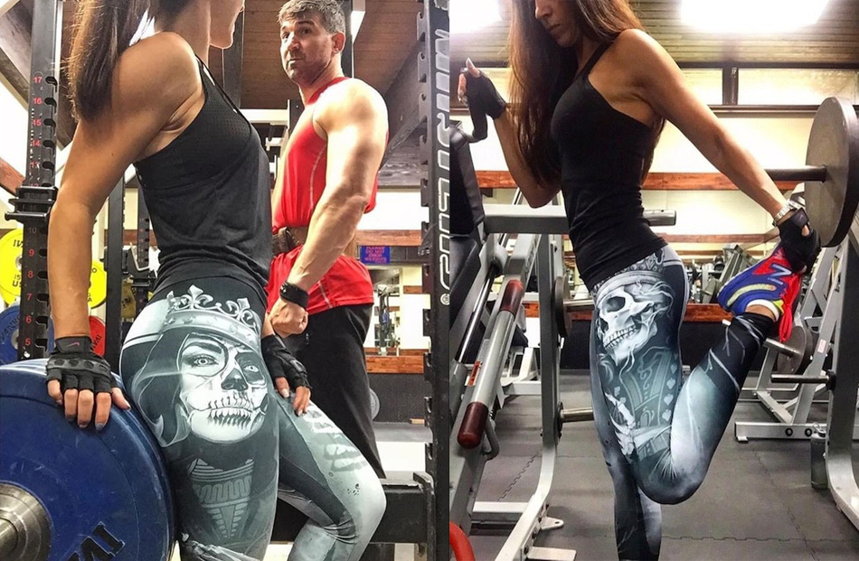 Leggings tête de mort cartes fitness