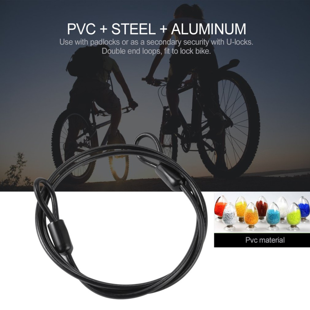 Bicycle Bike Solid Double Loop Cable Lock Heavy Duty Security Safety Wire 100cm