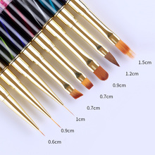 UV Gel Liner Painting Drawing Pen Gradient Brush Cat Eye Rhinestone Handle Manicure Nail Art Tool 1 Pc